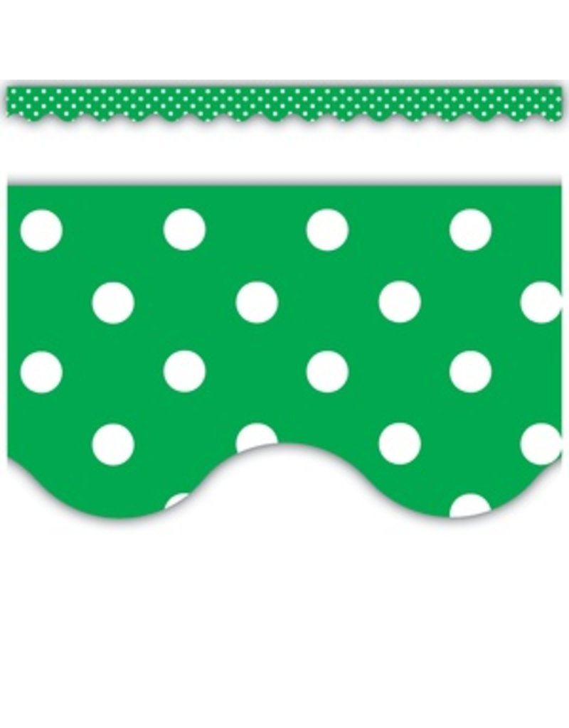 Green Polka Dots Scalloped Border Trim