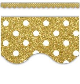 Gold Shimmer Polka Dots Scalloped Border Trim