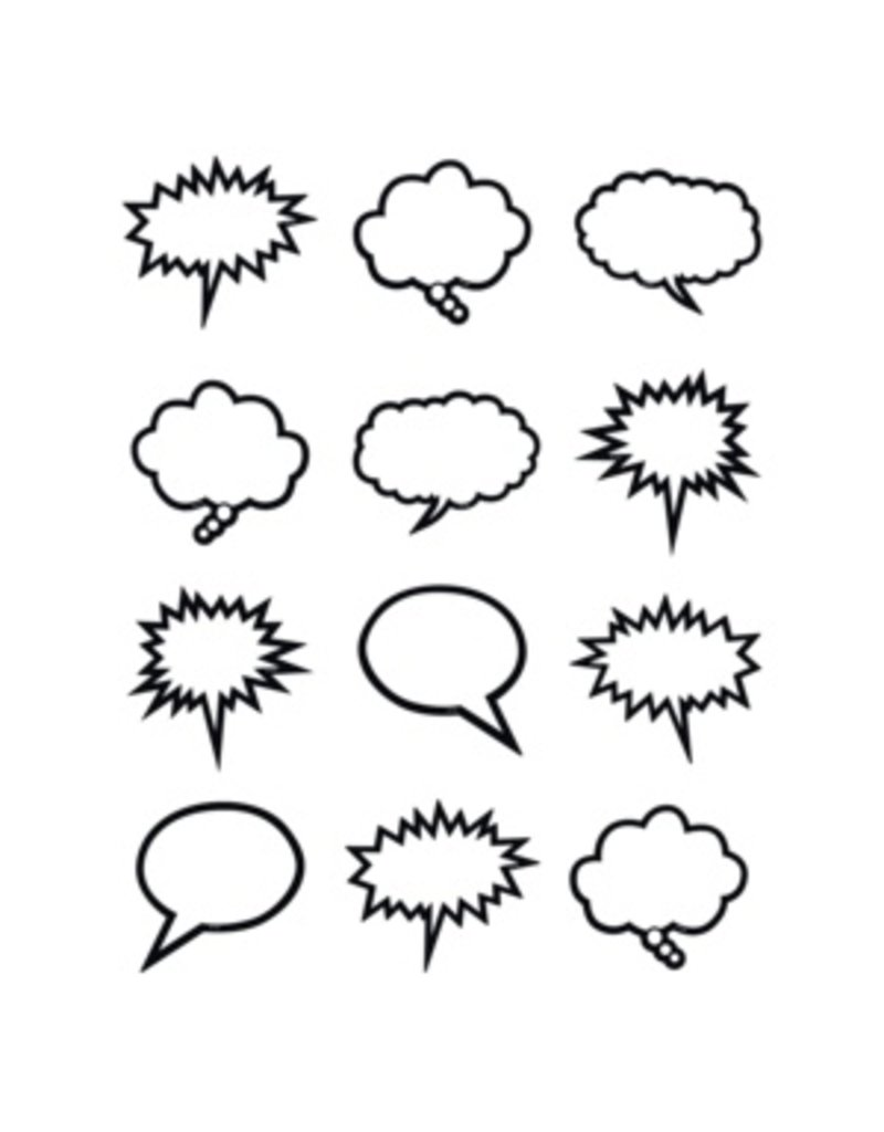Black & White Speech/Thought Bubbles Mini Accents