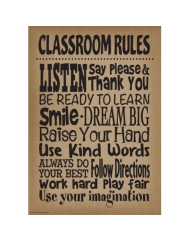 Burlap Class Room Rules-Poster
