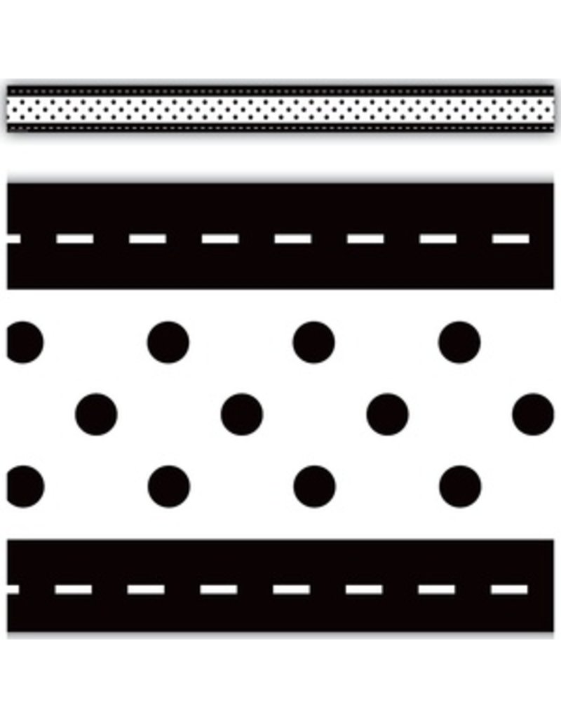 Black & White Stitch n Dots Straight Border Trim
