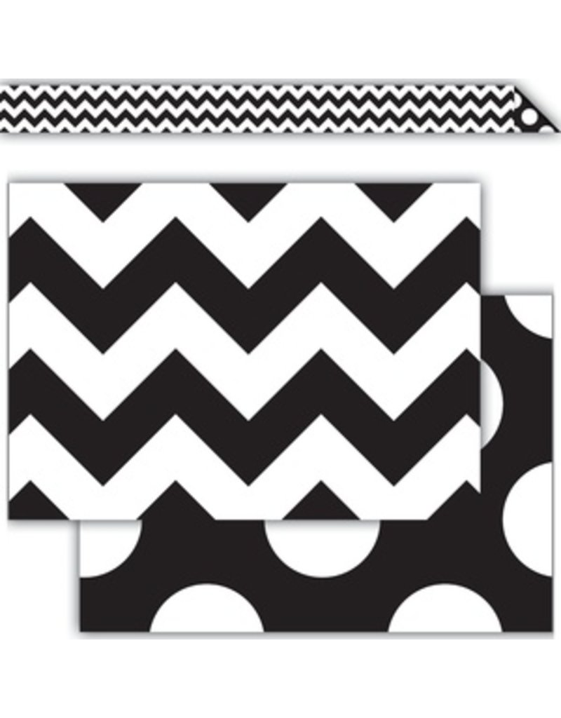 Black & White Chevron Double-Sided Border