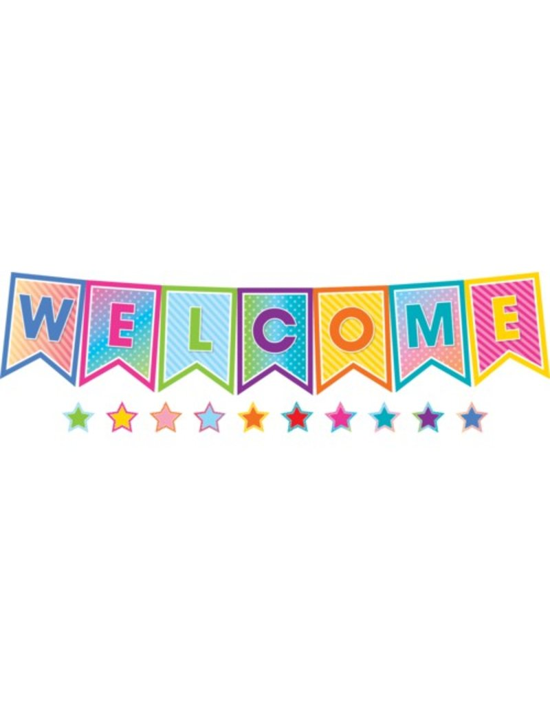 Colorful Vibes Pennants Welcome Bulletin Board
