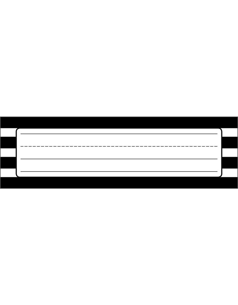 Simply Stylish Black and White Stripe Desk Nameplates