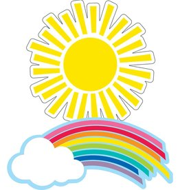 Hello Sunshine Colorful Cut-Outs Assorted Designs Rainbows & Suns