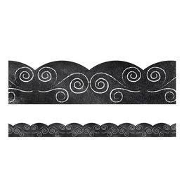 Swirls on Chalkboard Scalloped Boarders