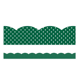 Green with White Polka Dots Scalloped Borders
