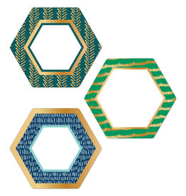 Hexagons with Gold Foil Colorful Cut-Outs