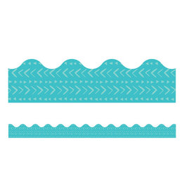 Blue Batik Scalloped Border