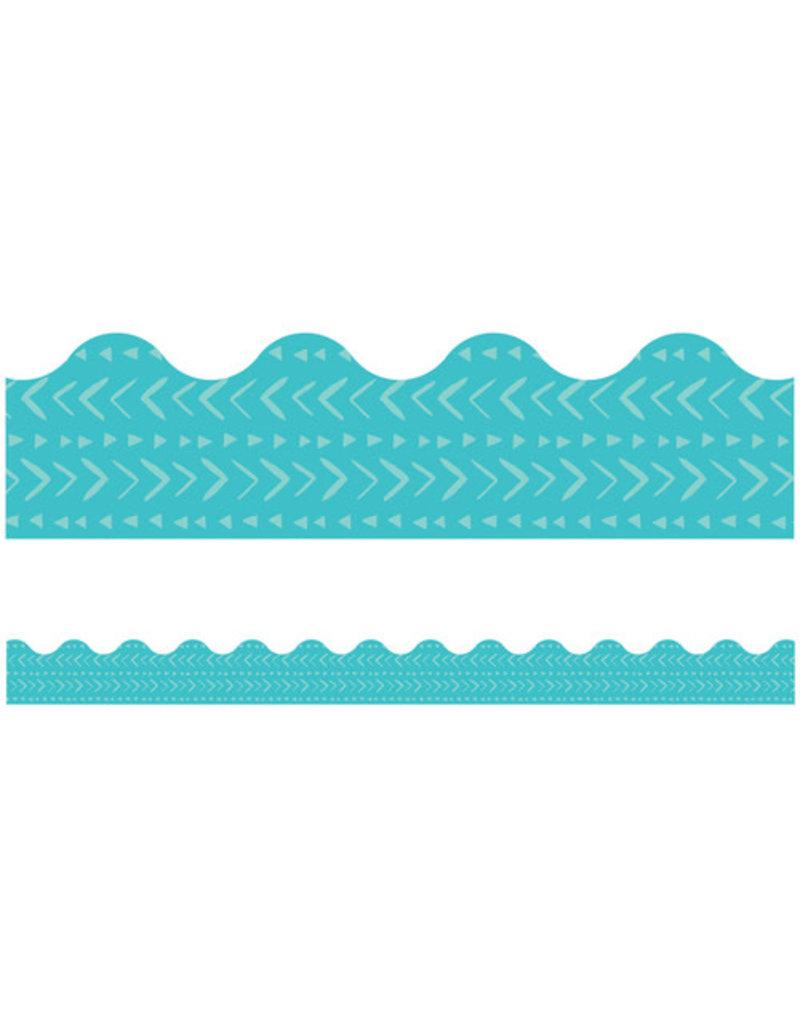 Blue Batik Scalloped Border
