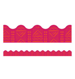 Pink Batik Scalloped Border