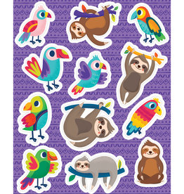 Sloths & Parrots Shape Stickers