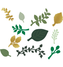 Green and Gold Paper Leaves