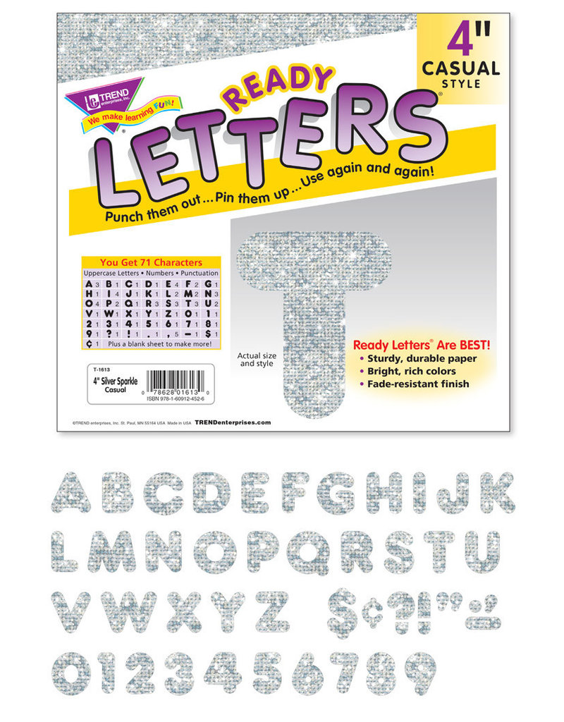"""4"""" Silver Sparkle Casual Letters"""
