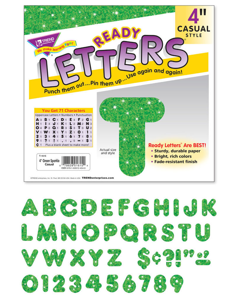 "4"" Green Sparkle Casual Letters"
