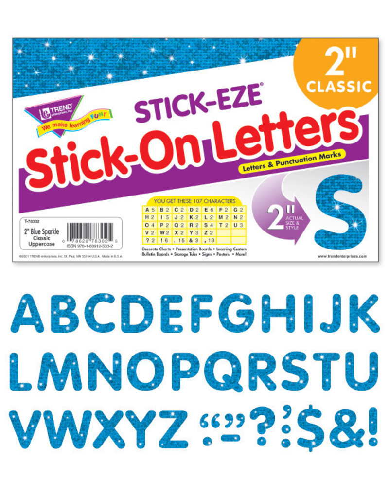 "2"" Blue Sparkle Classic Uppercase Stick-On Letters"