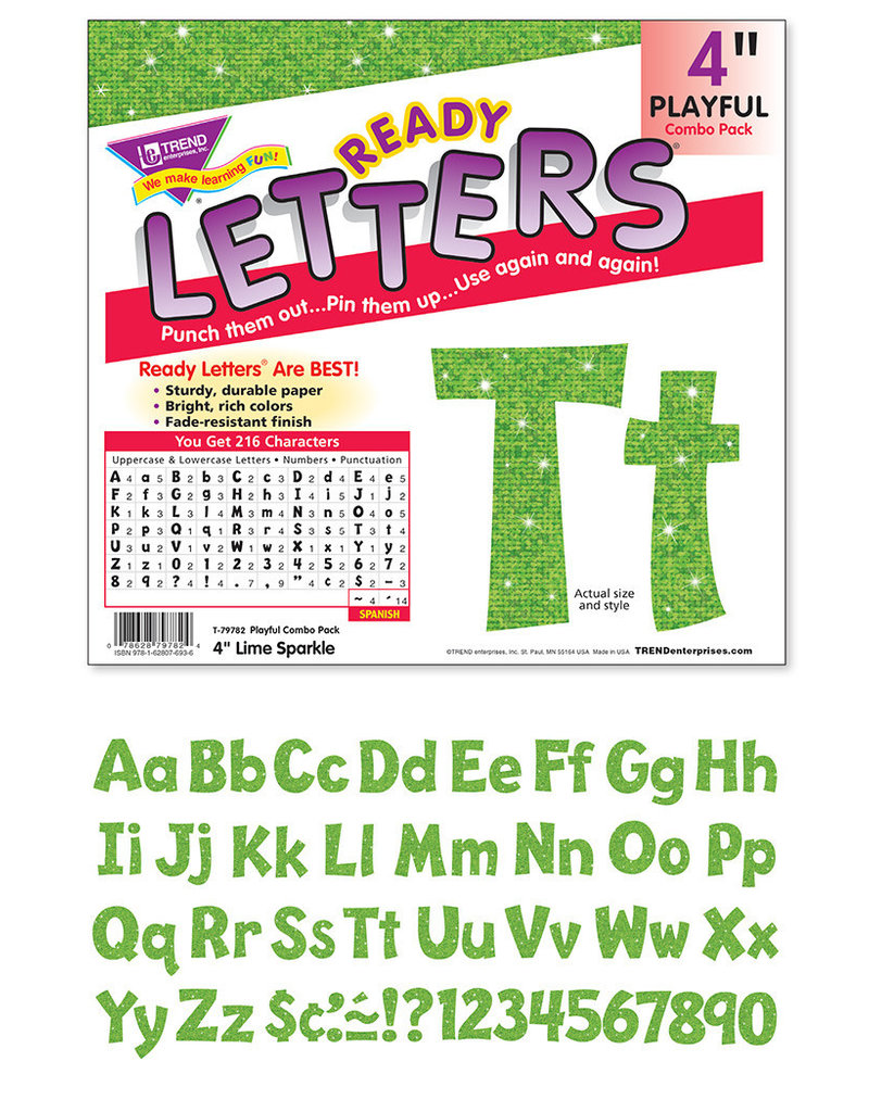 "Lime Sparkle 4"" Playful Combo Letters"