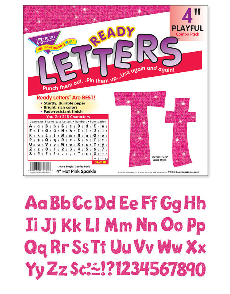 """Hot Pink Sparkle 4"""" Playful Combo Letters"""