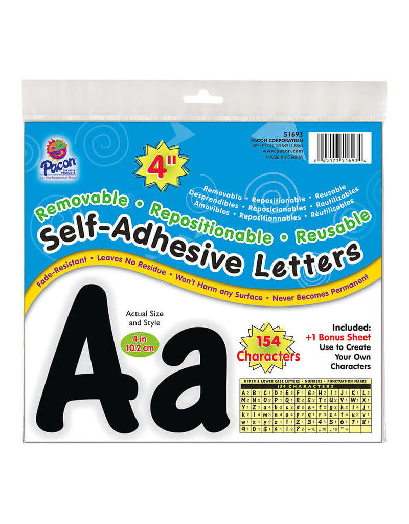 "Black 4"" Self-Adhesive Mixed Letters"