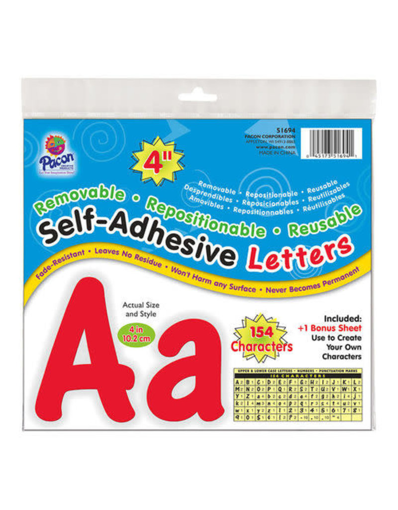"Red 4"" Self-Adhesive Letters"