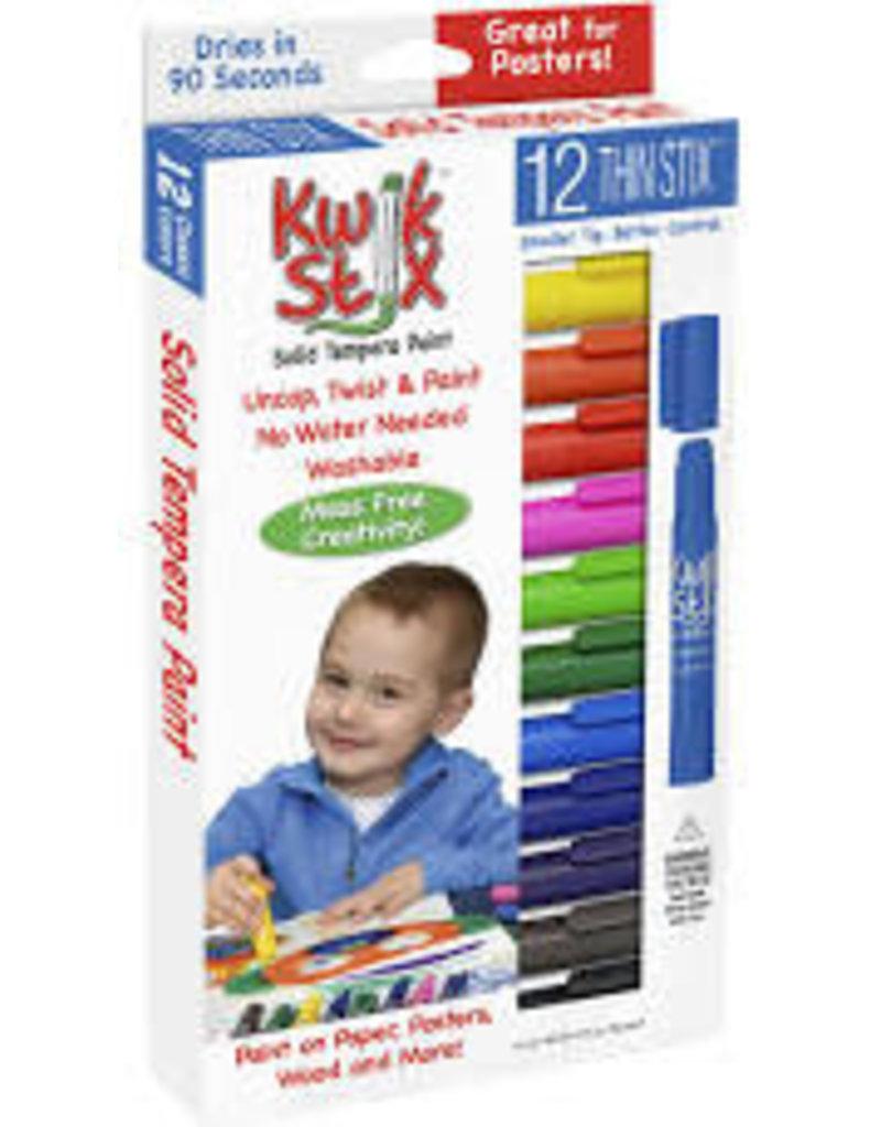 Kwik Stix Tempera Paint 6gm Thin Primary 12 Color Sets