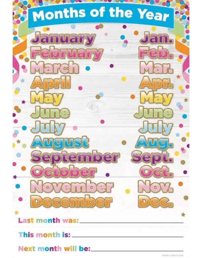 Confetti Months of the Year Poly Chart 13 x 19