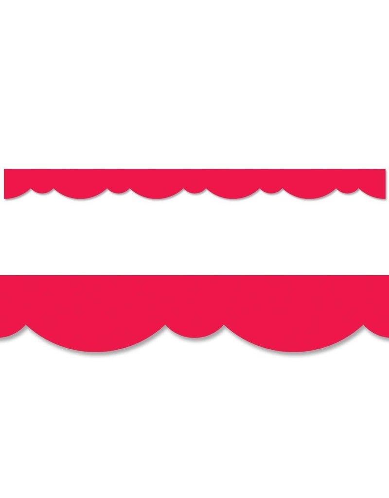 Poppy Red Stylish Scallops Border