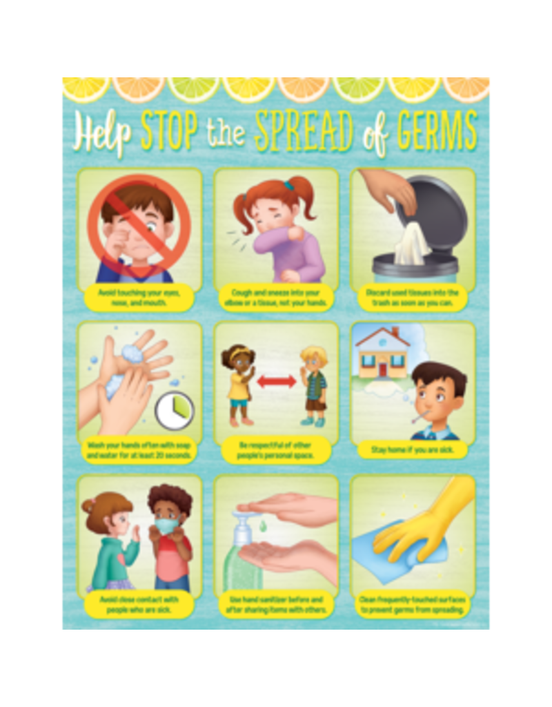 Lemon Zest Help Stop the Spread of Germs Chart