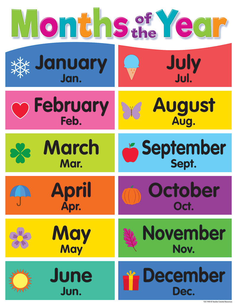 Colorful Months of the Year Chart