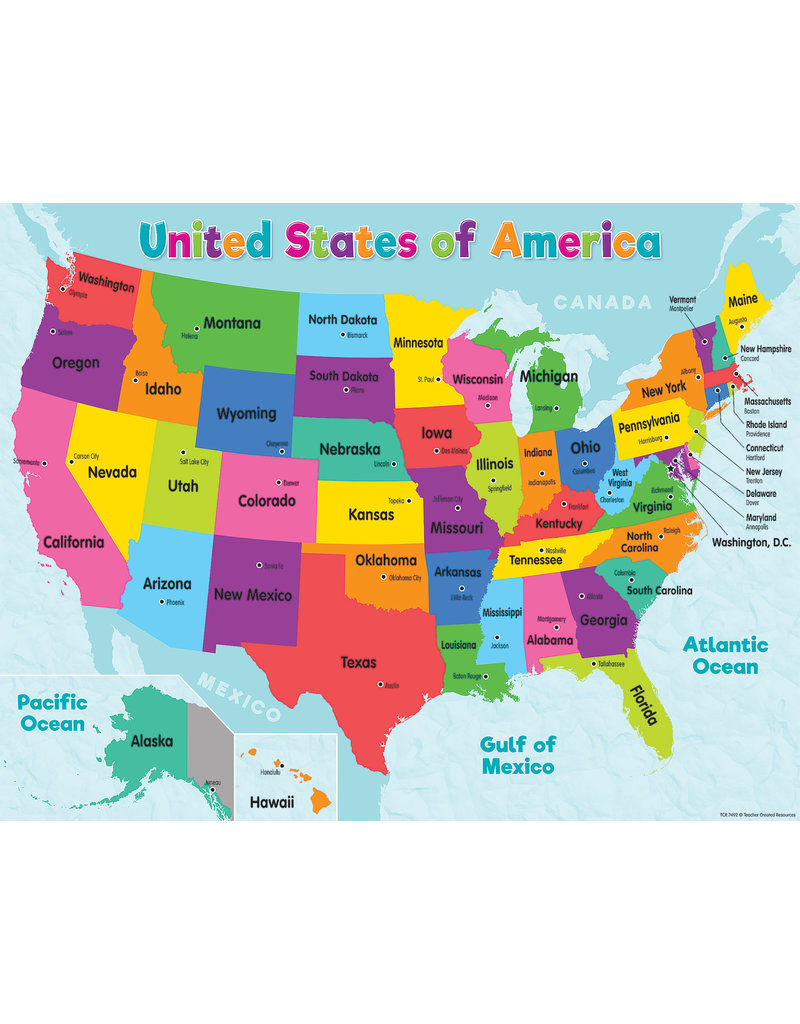 Colorful United States of America Map Chart