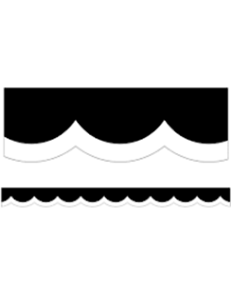 Black White & Stylish Brights White & Black Wavy Line  Scalloped Border