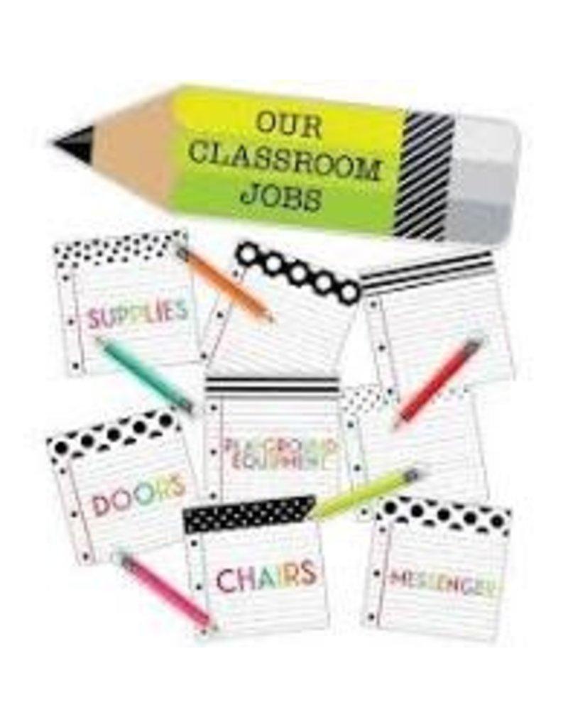 Black White & Stylish Brights Classroom Jobs Mini Bulletin Board