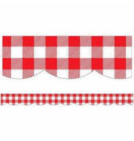 Black White & Stylish Brights Red Gingham Scalloped Border