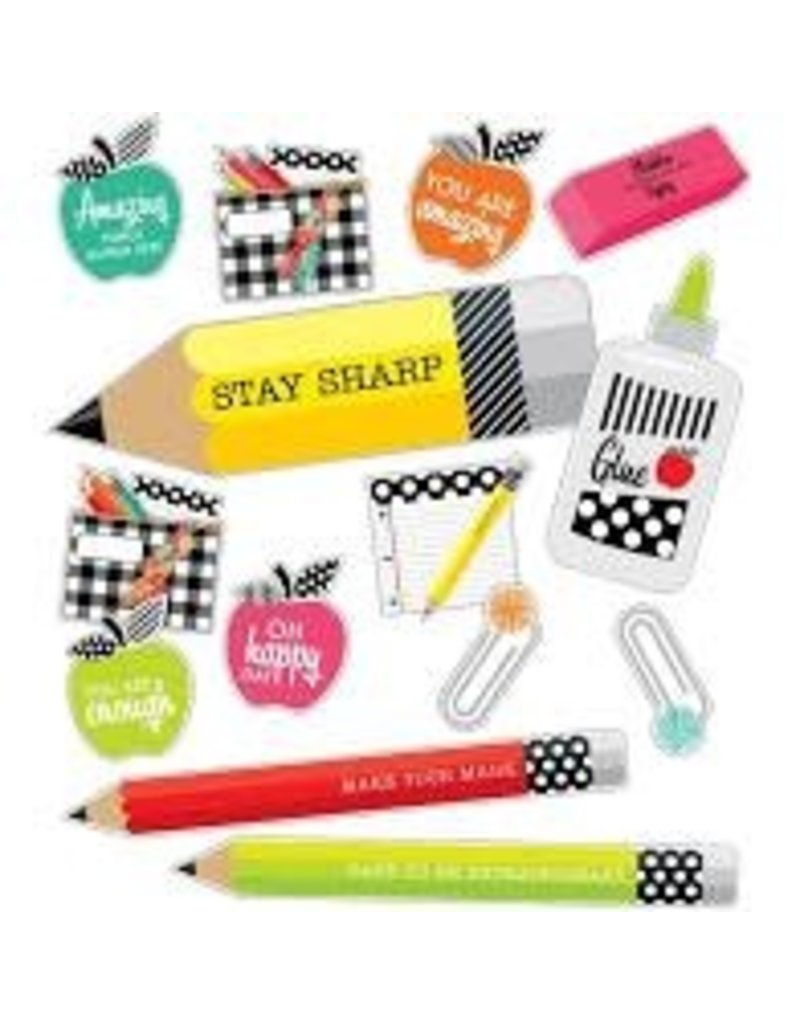 Black White & Stylish Brights Supplies Mini Bulletin Board