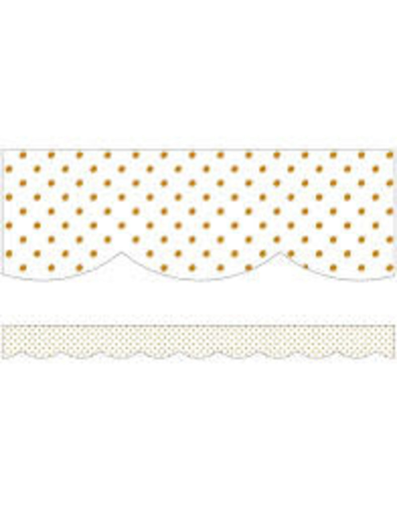 Simply Boho White with Gold Dots Scalloped Border