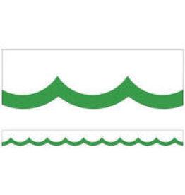 Simply Boho Green & White Wavy Lines Scalloped Border