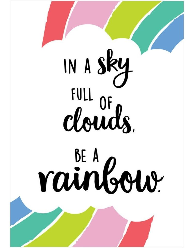 Rainbow Doodles In a Sky Full of Clouds Poster