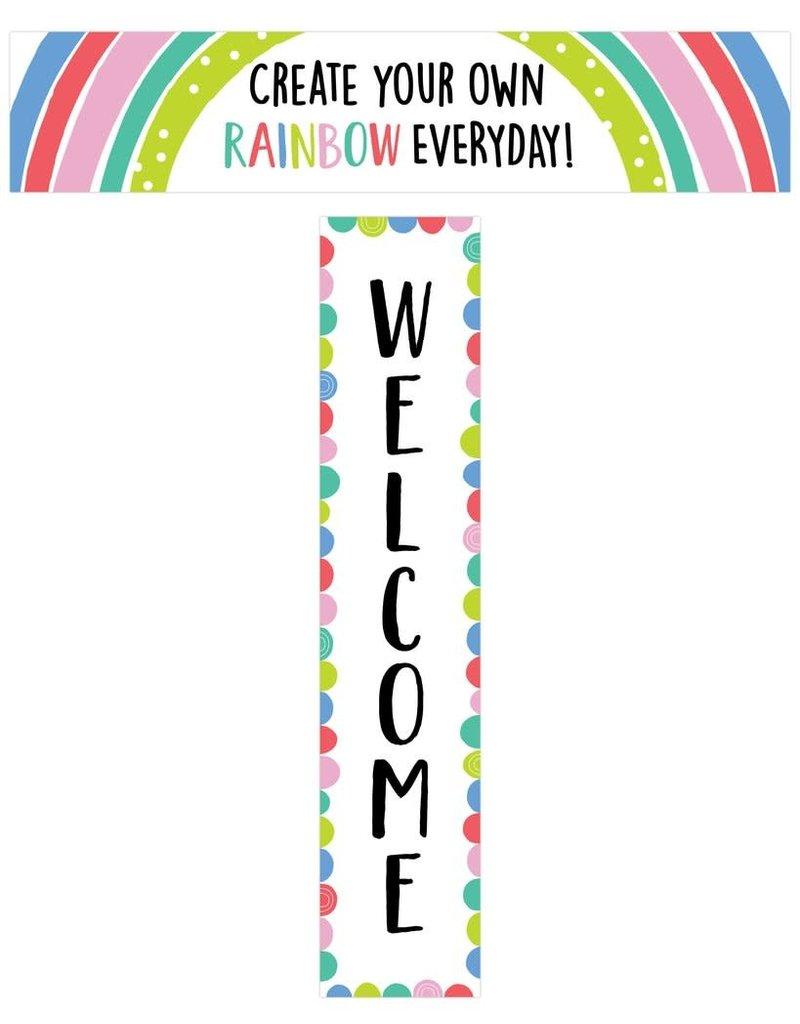 Rainbow Doodles Welcome Banner