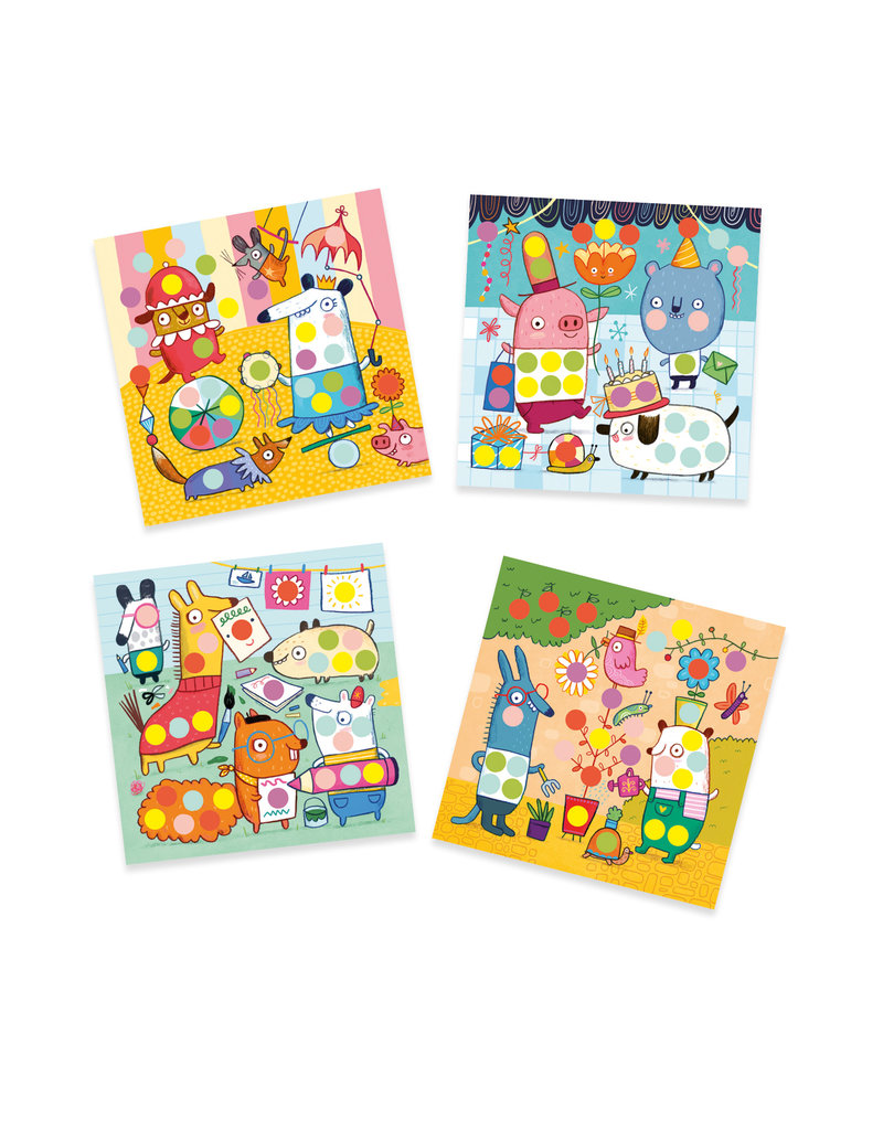 Colored Dots Sticker Collage Activity