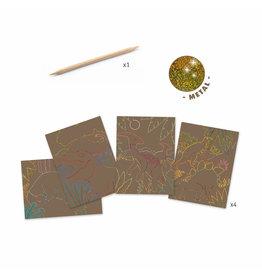 Dinosaur Metallic Scratch Card Activity Set