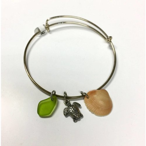 BEACH JEWELRY DESIGNS BANGLE w/ TURTLE CHARM