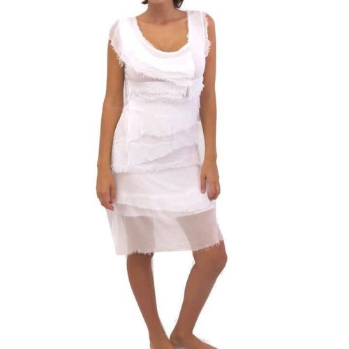 TEMPO PARIS SILK FLUTTER DRESS, WHITE
