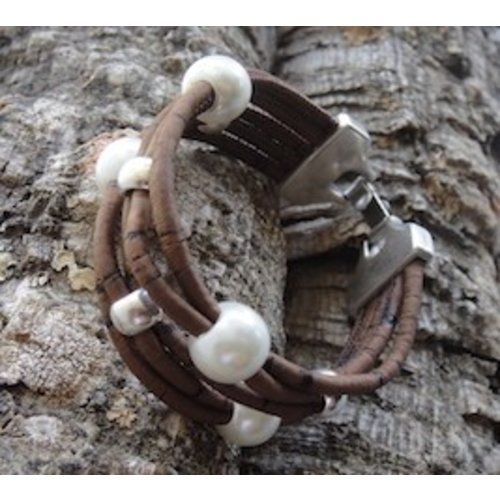 CORK TREE DESIGNS PEARL & CORK BRACELET