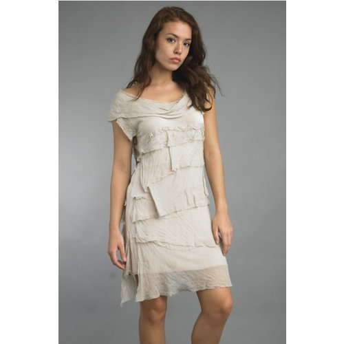 TEMPO PARIS SILK FLUTTER DRESS, BEIGE