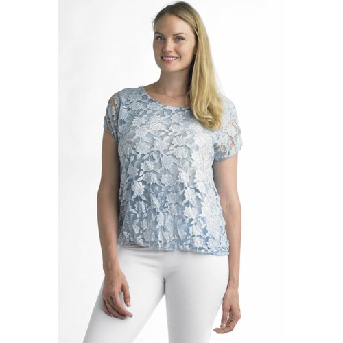 TEMPO PARIS FLORAL APPLIQUE TOP