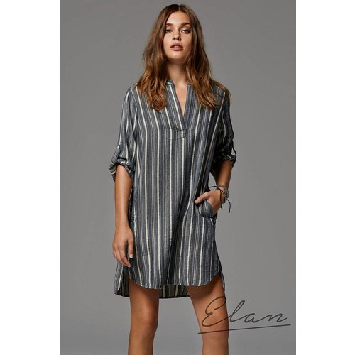ELAN COLLARED STRIPED DRESS