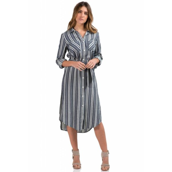 COLLARED DRESS W/ FRONT POCKETS & TIE, NAVY