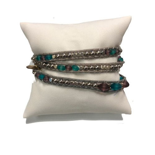 "LOTUS AND LUNA ""SEA GLASS"" TRIPLE WRAP BRACELET"