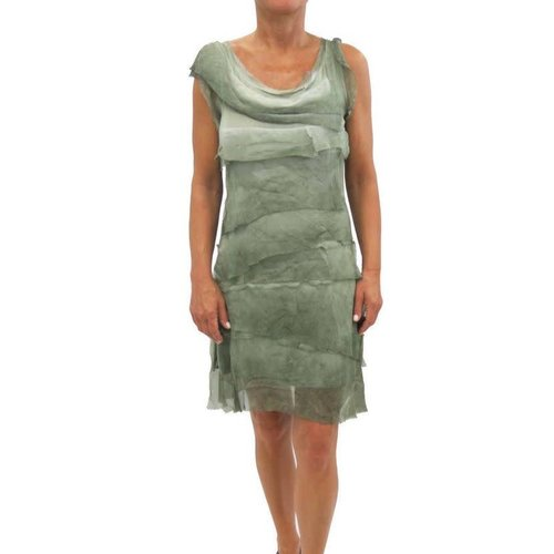 TEMPO PARIS SILK FLUTTER DRESS,  LT SAGE