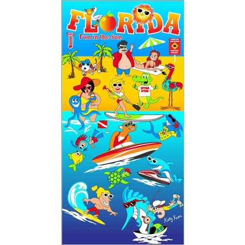 "FLORIDA FUN IN THE SUN VELOUR TOWEL, 30"" x 60"""